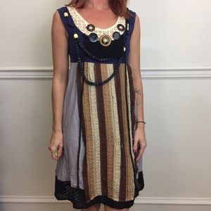 MARNI Flax Boho Bead Necklace Sleeveless Dress